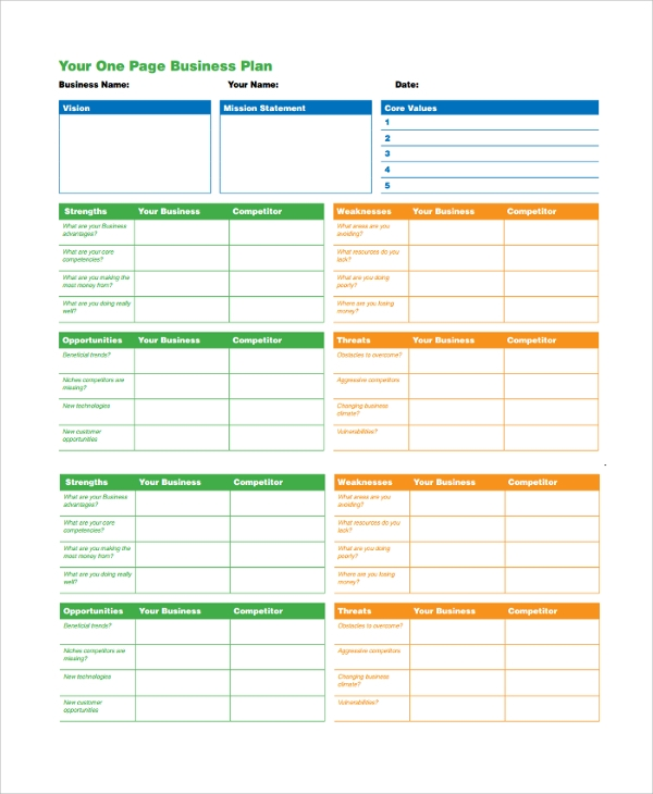 One page business plan for Two page business plan template