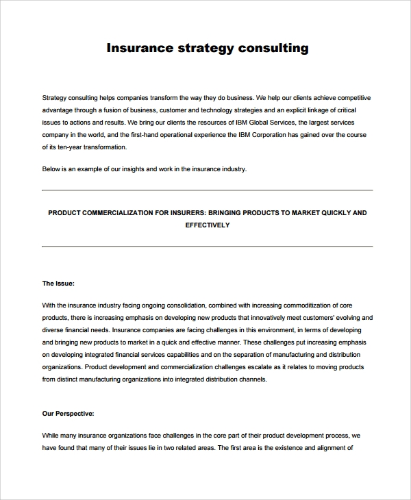 insurance product strategy template