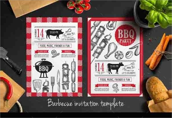 vector bbq invitation