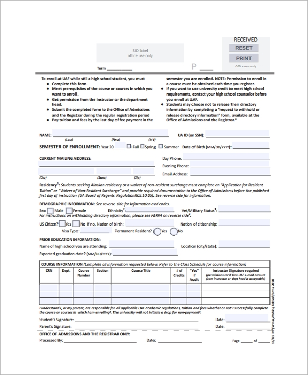 Enrollment Form Format Signup Form Login  Registration Form