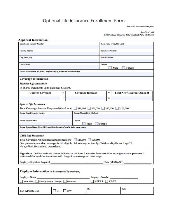insurance application form template  9  Sample Enrollment Forms | Sample Templates