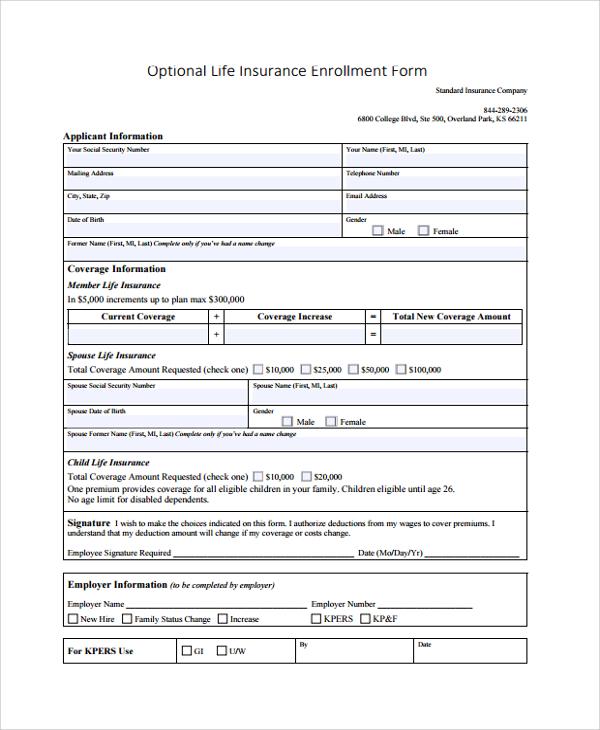 insurance enrollment form