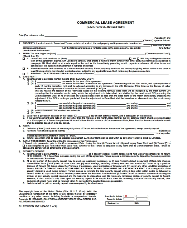 Commercial Rental Agreement Commercial Lease Agreement Template – Sample Commercial Lease Agreement Template