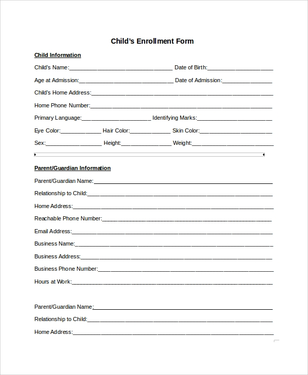 Sample Enrollment Form   Documents In Pdf Word