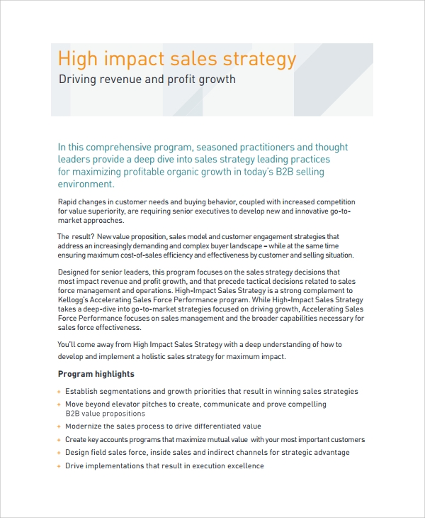 Sample Sales Strategy   Documents In Word Pdf