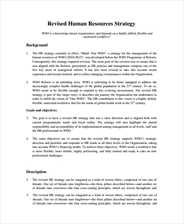 Sample Hr Strategy   Documents In Pdf