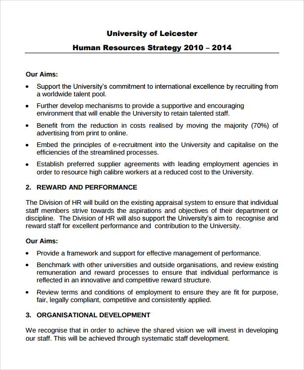 university hr strategy template