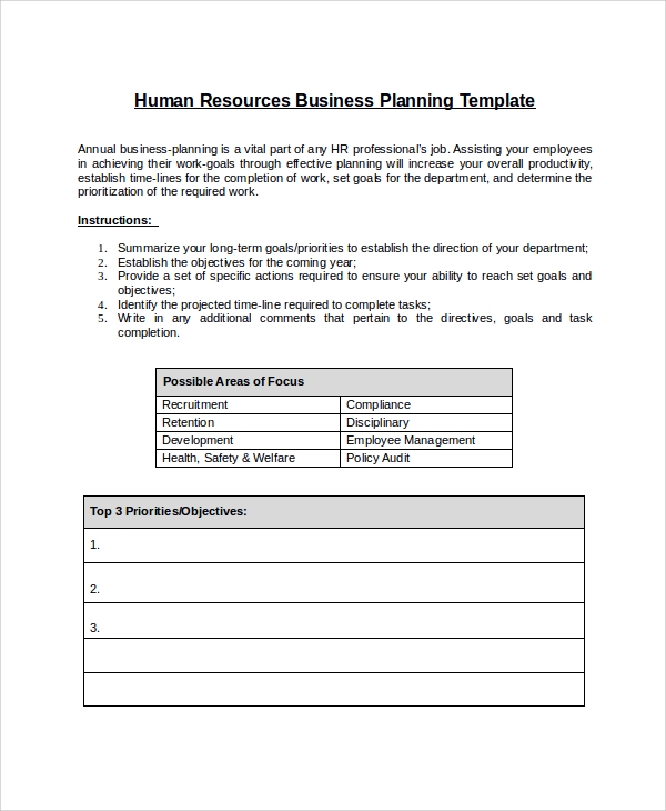 Sample Hr Plan   Documents In Word Pdf