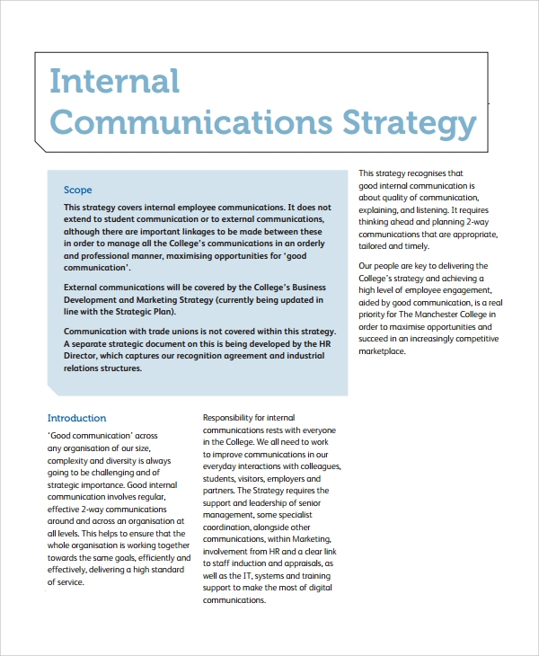 Sample Communication Strategy   Documents In Word Pdf