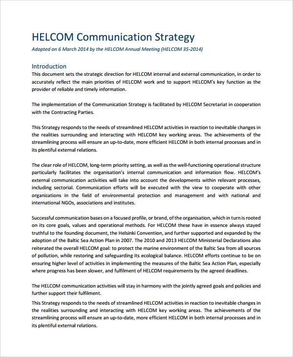 sample communication strategy