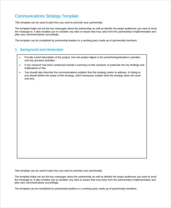 basic communication strategy template