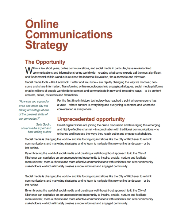 online communication strategy template