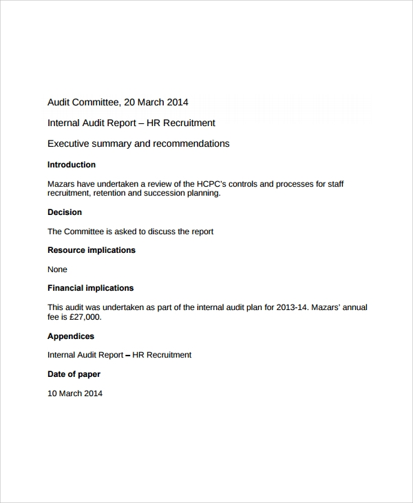 sample hr audit report template - 17 sample hr reports sample templates