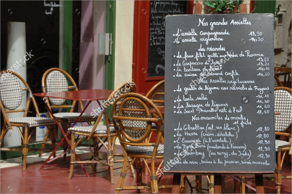 menu board outside a french restaurant template