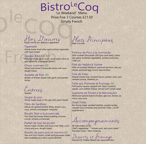 10 french menu templates sample templates for French cafe menu template