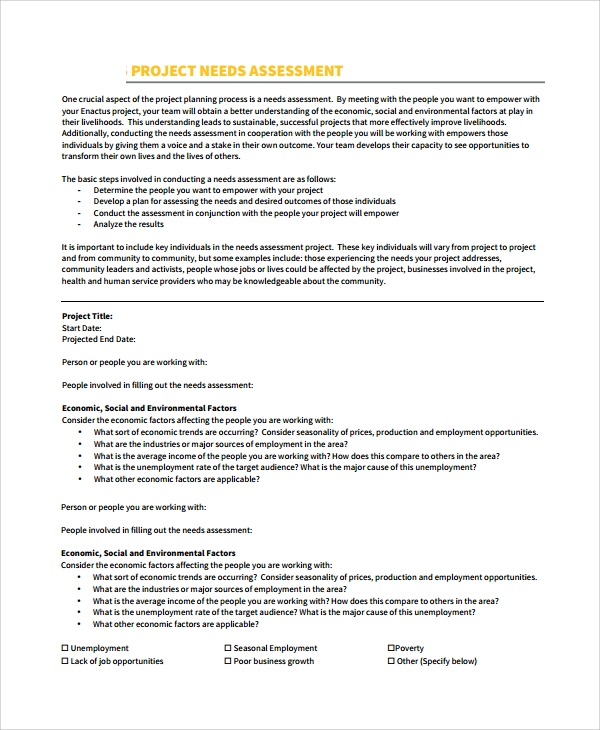 Needs Assessment Example  Resume Template Sample