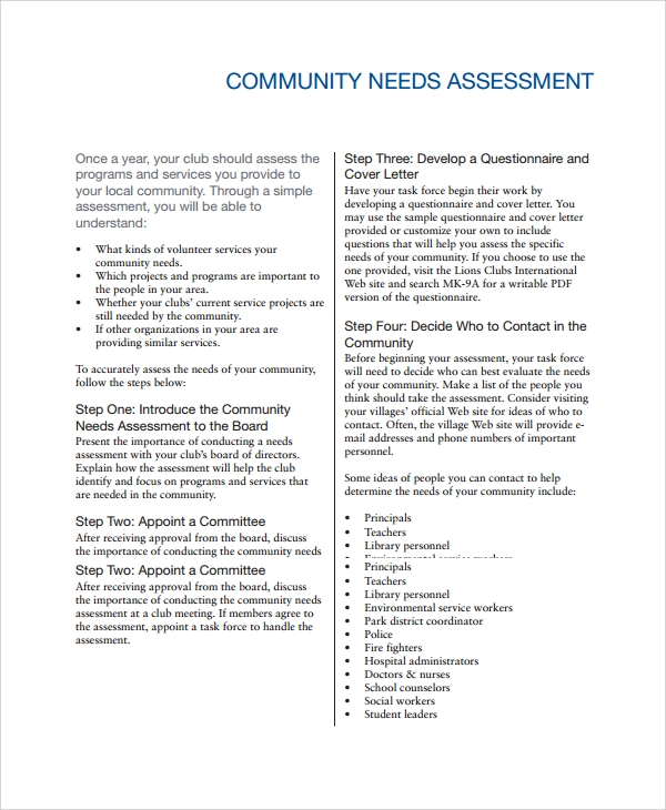 Sample Need Assessment   Documents In Word Pdf