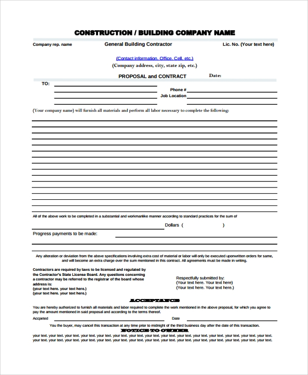 Sample Proposal Template   Documents In Pdf Word