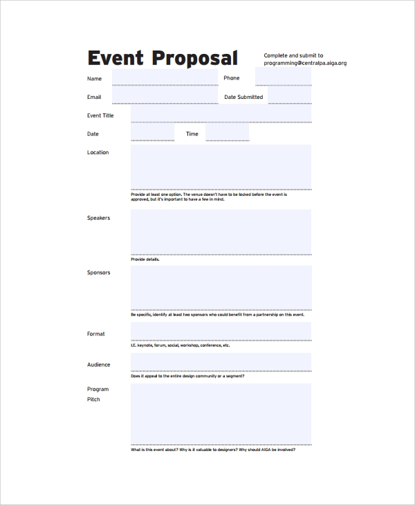 Sample Proposal Template 19 Documents in PDF Word – Event Proposal Format