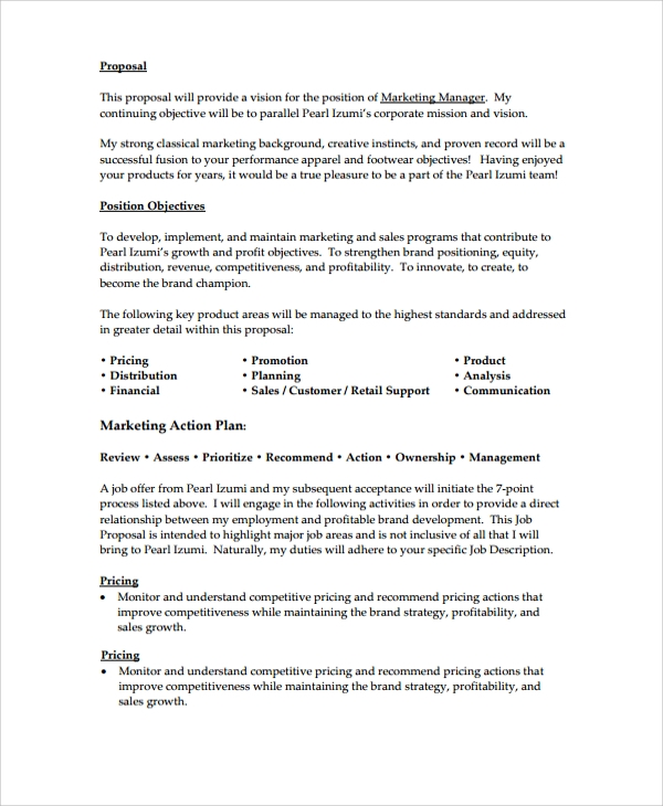 Sample Proposal Template 19 Documents in PDF Word – Job Proposal Template
