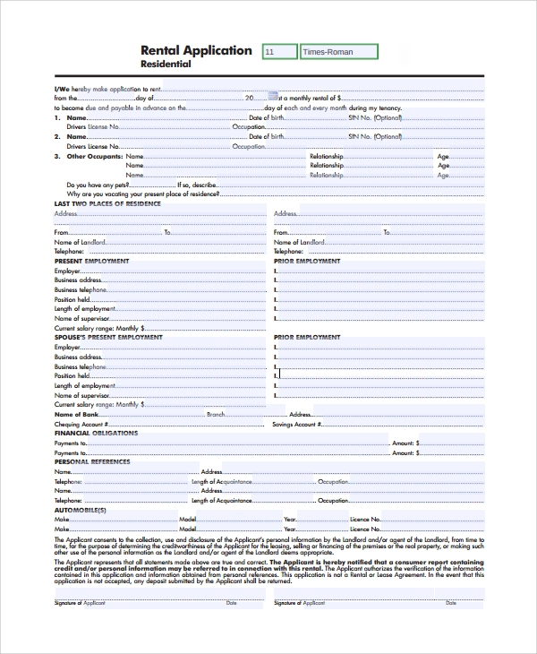 residential rental application form