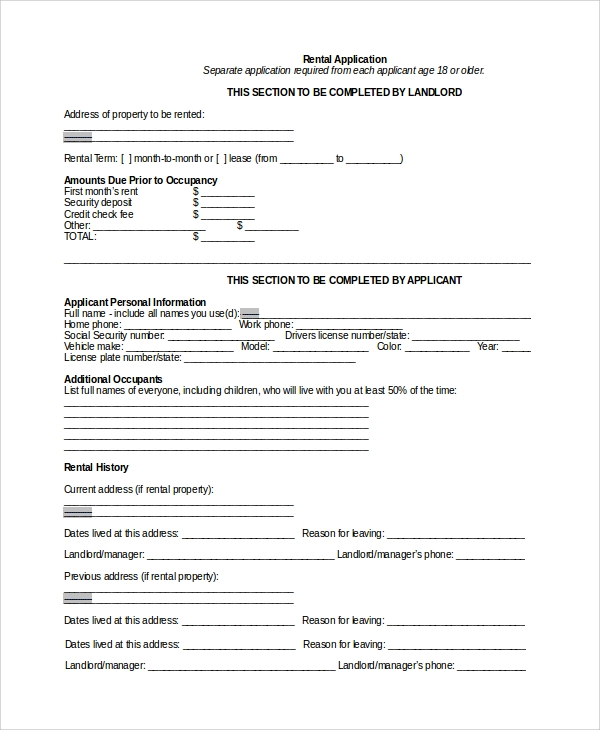 Sample Rental Application Form   Documents In Word Pdf