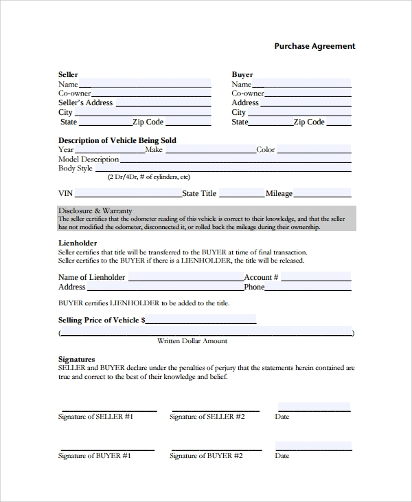 Sample Purchase Agreement 7 Documents in Word PDF – Auto Purchase Agreement