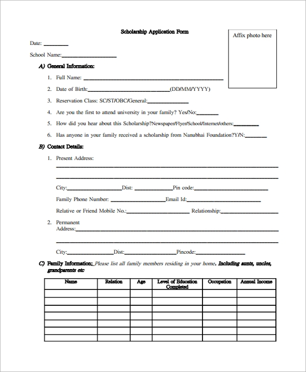College scholarship application template militaryalicious college scholarship application template altavistaventures Gallery