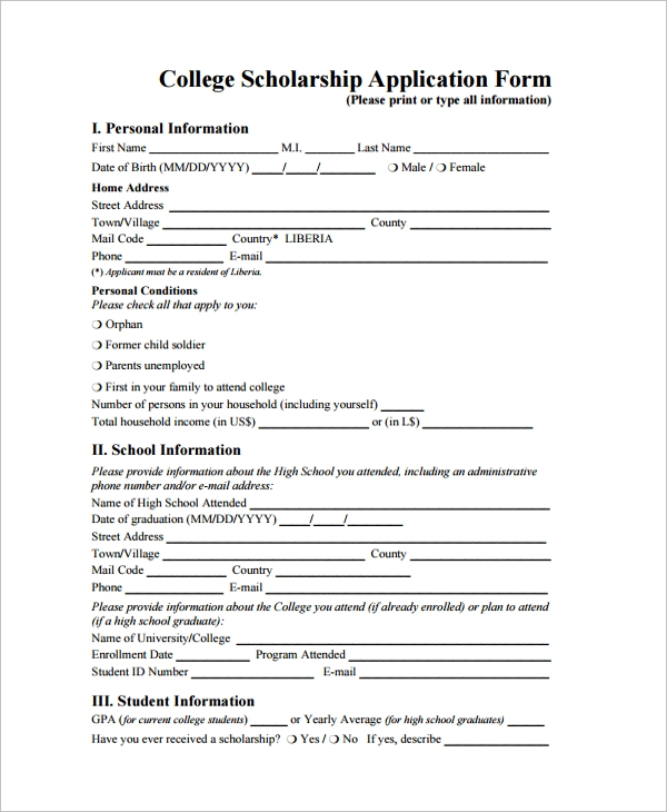 Sample Scholarship Form   Documents In Pdf Word