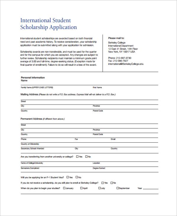 international scholarship application form