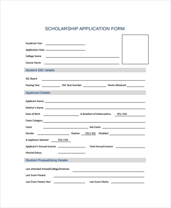Scholarship Forms Template Sample Scholarship Form 8 Documents In Pdf Word