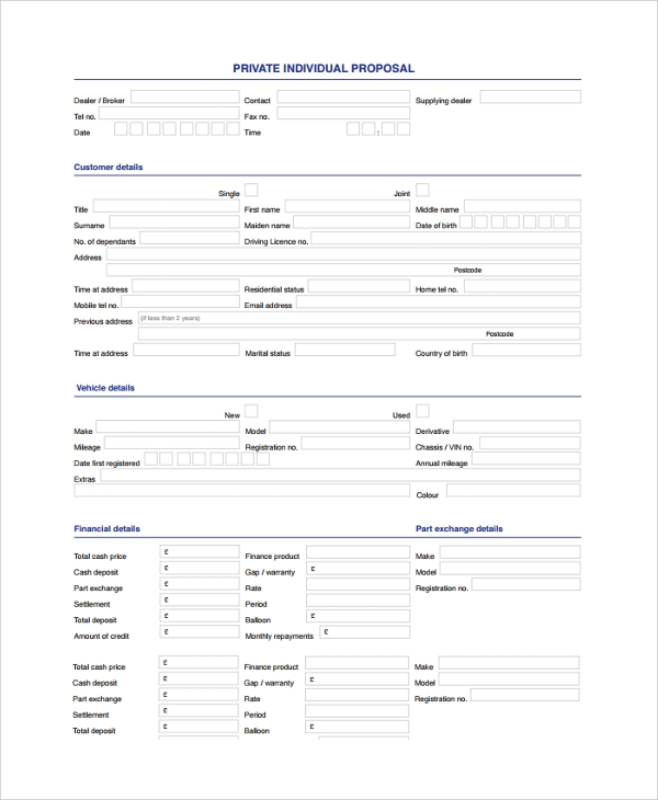 individual proposal form