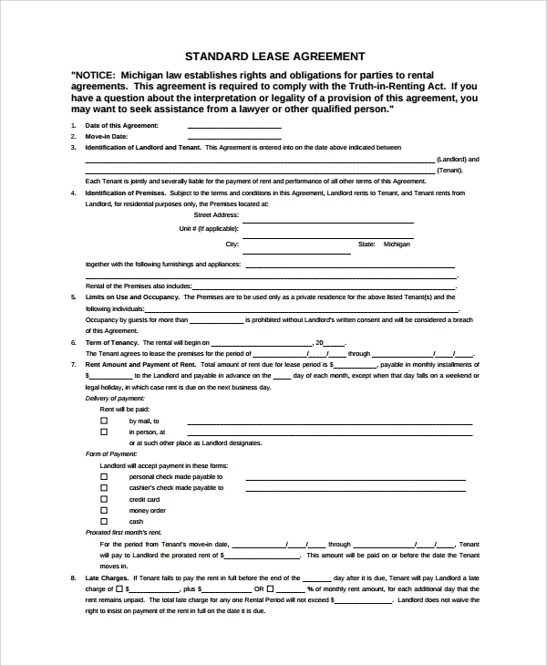 Sample Standard Lease Agreement   Documents In Word Pdf