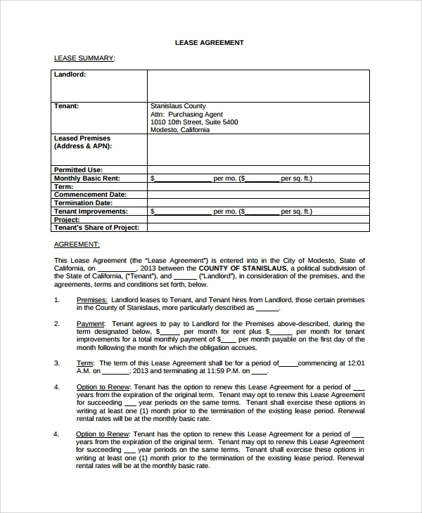 Sample Standard Lease Agreement 7 Documents in Word PDF – Standard Lease Agreements