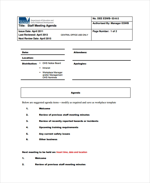 Sample Staff Meeting Agenda 6 Documents in PDF – Team Meeting Agenda Sample