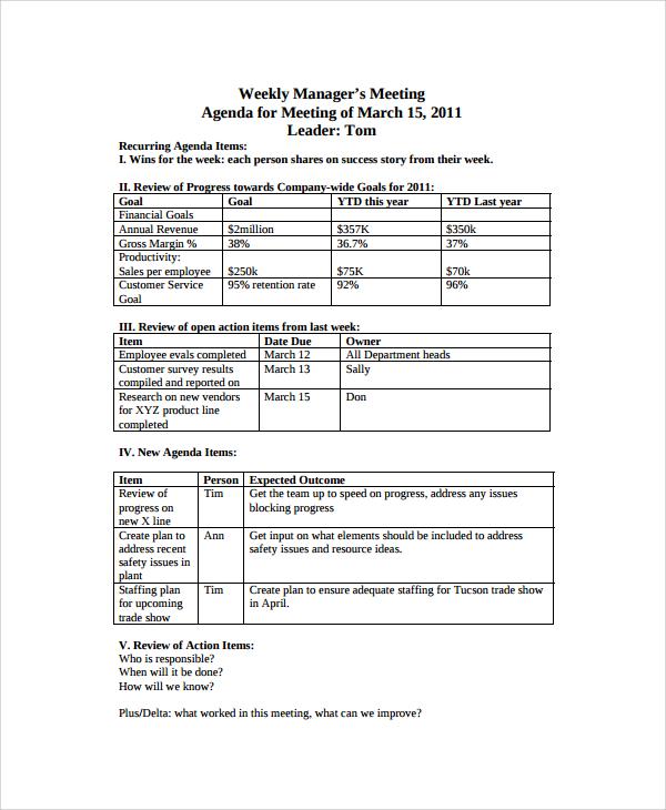 8+ Sample Weekly Agenda Templates | Sample Templates