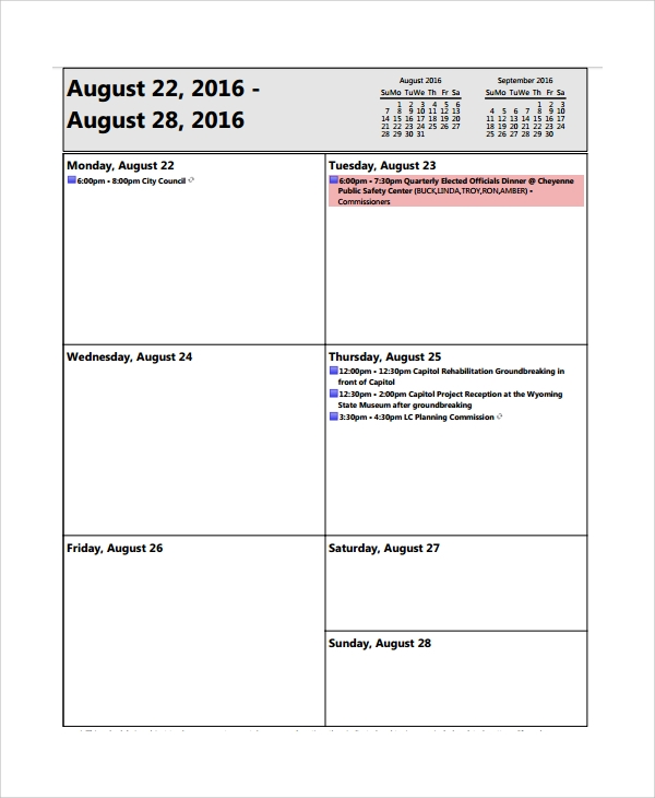 Sample Weekly Agenda   Documents In  Word