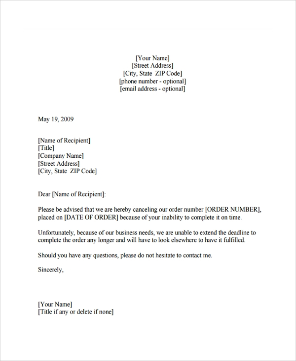 Sample Order Letter - 17+ Documents in PDF, Word