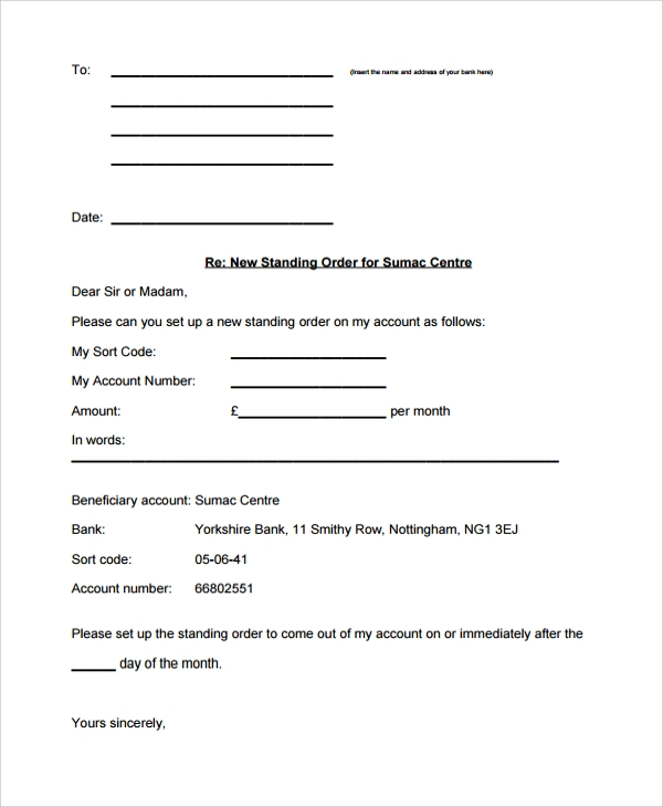 Sample Order Letter   Documents In Pdf Word