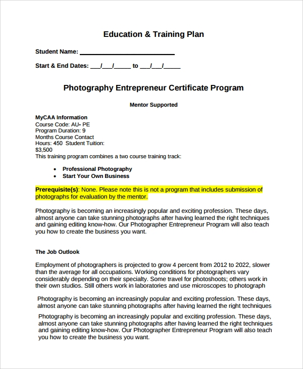 photography training business plan