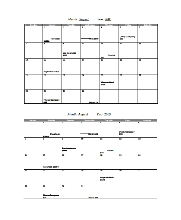 7 sample bill calendar templates sample templates