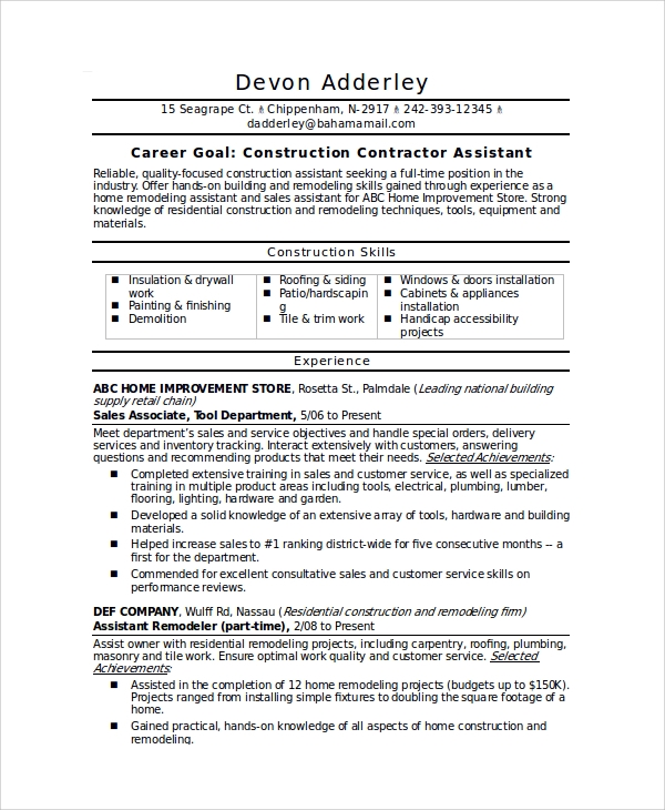 sample contractor resume