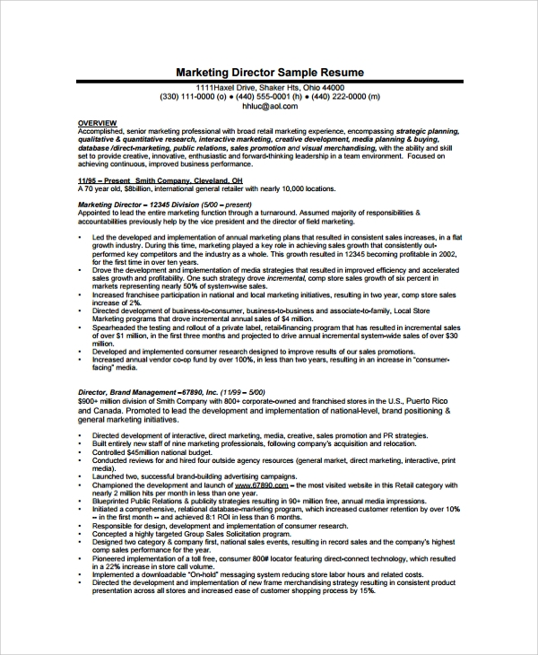 sample director resume