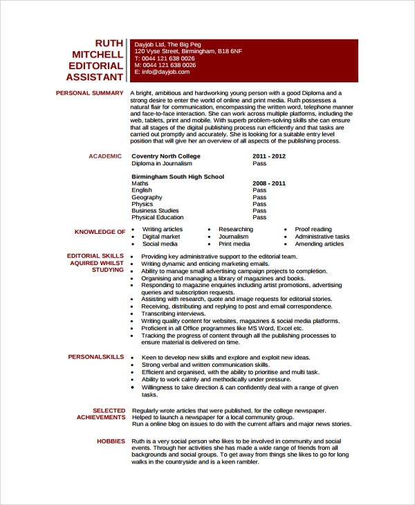 sample editor resume