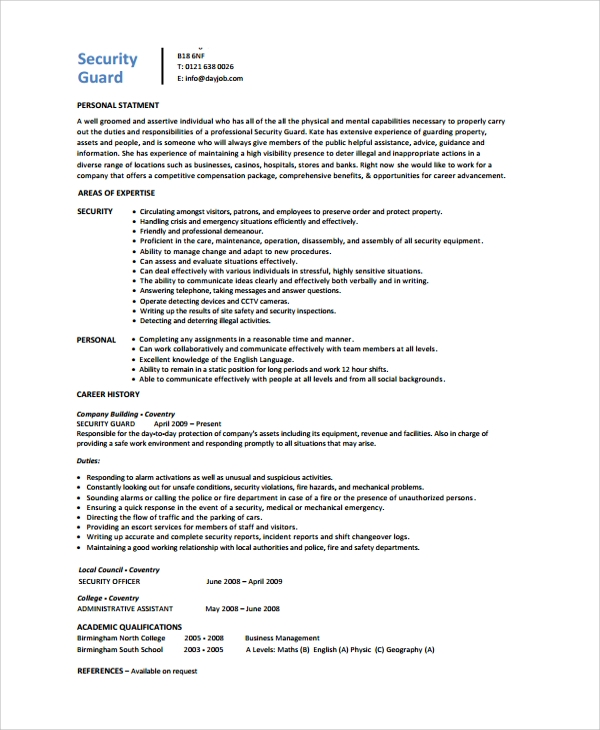 sample guard resume