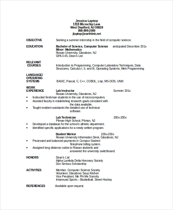sample professor resume