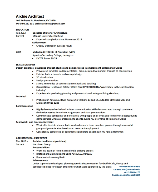 sample architect resume