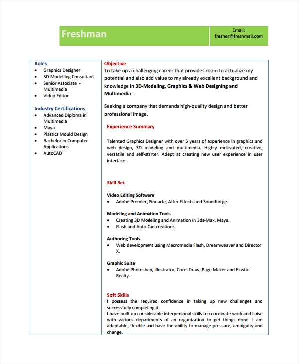 sample fresher resume