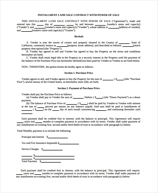 contract for sale of land template - 8 sample sales contract templates sample templates