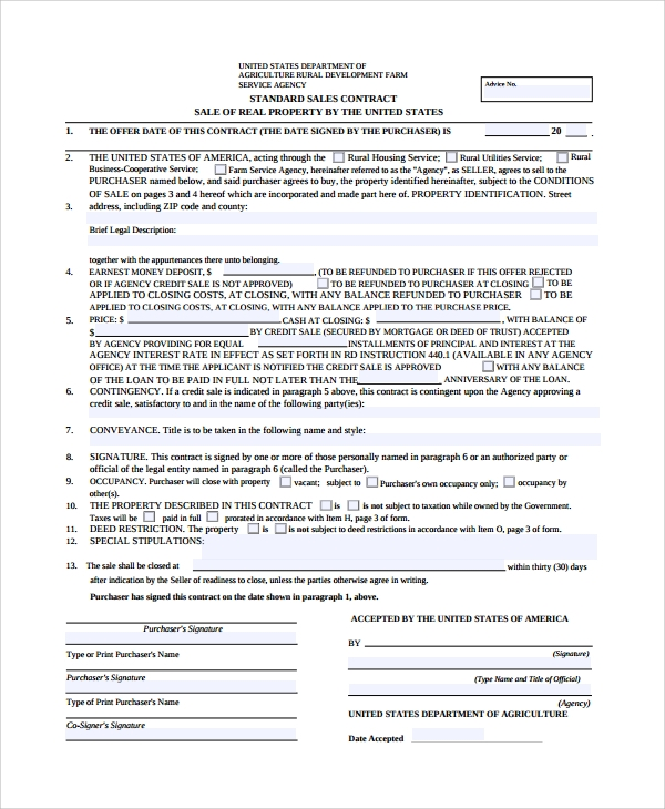 Sample Sales Contract   Documents In Word Pdf